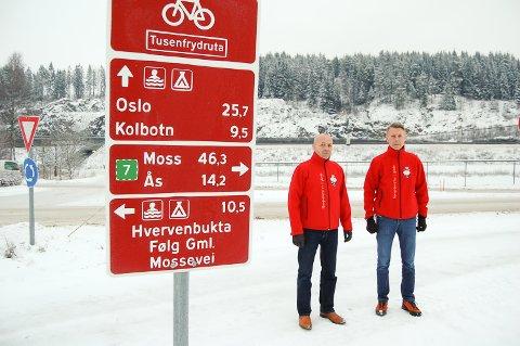 BOMFAST: Markedssjef Erik Røhne Andersen og direktør Bjørn Håvard Solli ønsker ikke at gjestene må gjennom to bommer for å komme frem til Tusenfryd.