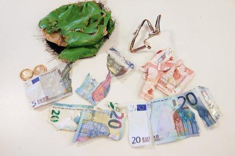 STJÅLET OG SPIST: Slik ser pungen og pengesedlene etter nærkontakt først med skjæra, deretter med robotsauen.
