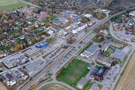 Ås sentrum NSB Flyfoto