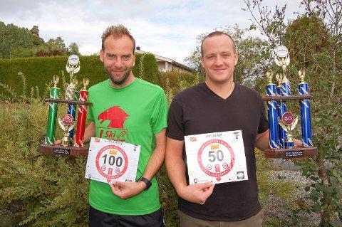 TEAM RONNY OG JAN BILLY: Jan Billy Aas (til venstre) er den yngte i Norge som har løpt 100 maraton, Ronny Kristiansen er den yngste som har løpt 50 maraton.