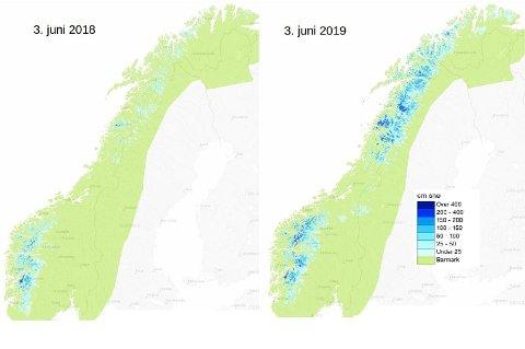 Meteorlogene på Twitter delte dette bildet på mandag som viser at det fortsatt er mye snø igjen i Norge. - Det er fortsatt en del snø igjen noen steder i #Norge. Her ser du hvor mye snø som ligger igjen nå sammenliknet med samme tid i fjor. Med varmere vær utover uka vil nok en god del forsvinne, skriver de på Twitter. Foto: Twitter: Meteorologene