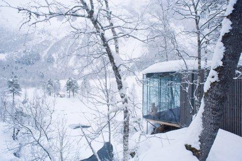 INNE OG UTE: De store glassflatene gjør at man kommer tett på den viltre naturen i Juvet landskapshotell.