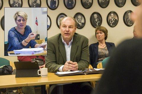 Reagerte kraftig: Olaf Holm forventer en beklagelse til rådmann Inger Anne Speilberg (innfelt) fra flere i det politiske miljøet i Larvik etter det som hendte i og i etterkant av møtet i fellesnemnda i forrige uke.Fotomontasje: Lasse Nordheim
