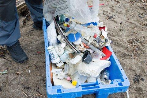 Dette plastsøppelet fant Helge Pedersen bare på en liten runde på Tollerodden.