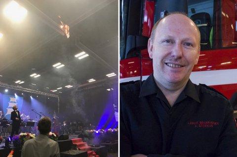 Etterforsker: Brannsjef Arve Stokkan sier brannvesenet vil se nærmere på både raketter som ble brukt og skilleveggen i Boligmappa arena