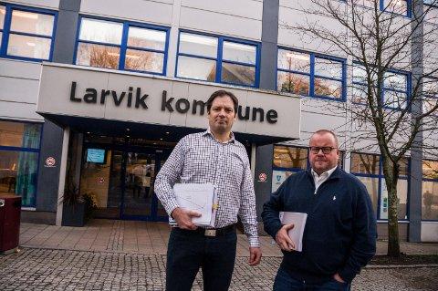 ADVARER: Økonomirådgiver Atle Willems (t.v.) og økonomisjef Paul Hellenes vil stoppe gjeldsutviklingen, som om få år vil ha nådd fire milliarder kroner.
