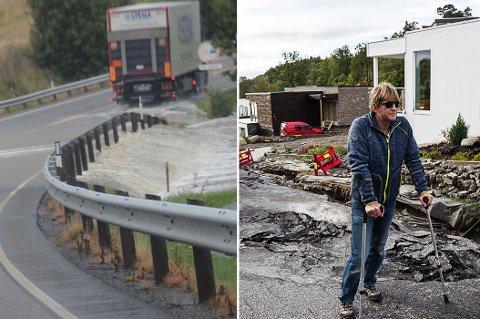 Stor flom: Høsten 2015 flommet vannet over Stavernsveien og gjorde store skader i boligområdet på Rødberg.