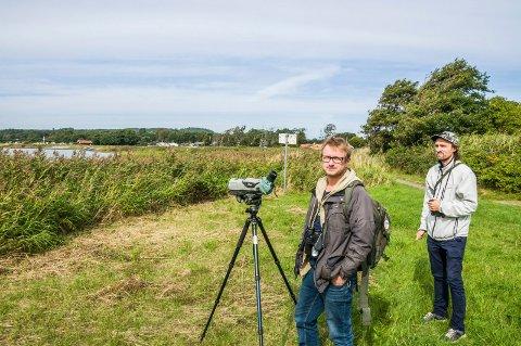 KRITISKE: Fugleekspertene Anders Mæland (t.v.) og Kevin By besøkte Nalumstranda onsdag. – En badestrand vil ødelegge dette fantastiske fugleområdet fullstendig, sier Mæland.