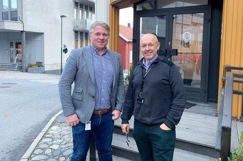 PLANLEGGER: Næringsrådgiver Jørgen Johansen og digitaliseringssjef Vilhelm Einen har planene klare for videre satsing på Larvik som en smart kommune.