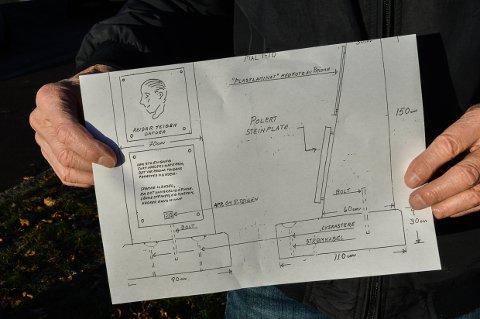 SKISSE OVER BAUTA: Dagfinn Ellefsen har laget skissen over hvordan bautaen skal se ut.