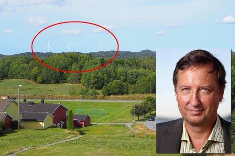 MÅNEJORDET: Slik kan det se ut, dersom Larvik vindkraftverk får realisert planen om å bygge tre vindmøller. Innfelt er Kalle Hesstvedt, prosjektleder og en av initiativtakerne i Larvik Vindpark AS.