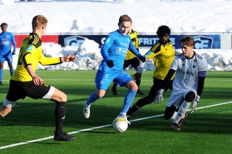 1-0: Martin Brekke har mistet store deler av de to siste sesongene med ankelskade. Lørdag var han tilbake fra start for Notodden FK og noterte seg for to mål i møtet med Brum i Idrettsparken. Her setter han inn 1-0.
