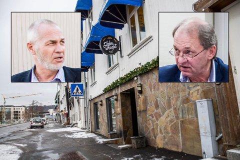 PUBKRANGEL: Per Manvik (innfelt, t.h.) vil ha svar om prikker til John Wright Pub. Ordfører Rune Høiseth mener han ikke kan etterkomme forespørselen.