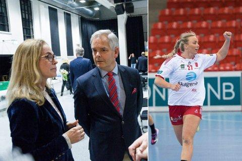 UENIGE OM LHK-PENGER: Birgitte Gulla Løken og Erik Sørensen. T.h.: LHK-spiller Emilie Christensen.