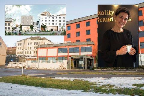 STORE KONSEKVENSER: Utbyggingen av Grandkvartalet får selvsagt konsekvenser for driften ved Grand Hotell. Det har hotelldirektør Lilly Skow Røed allerede begynte å planlegge for.