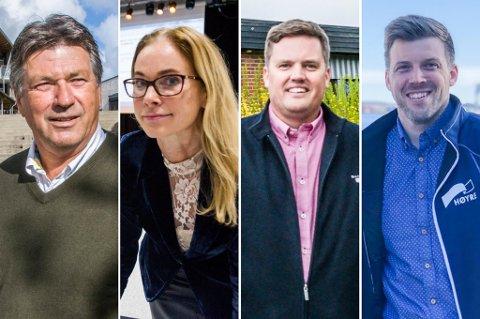 MANGE MED VIDERE: Bjørn Walle (t.v.), Birgitte Gulla Løken, Thomas Løvald og Lars Johan Røsholt er fire av Høyres totalt ni representanter i kommunestyret. Men én av dem blir garantert ikke å se i Larviks politiske fora etter valget.