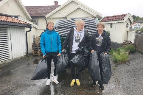 PLUKKET SØPPEL: Adrian Larsen, Petter Dalsloen og Nikolai Myrsve kommer med en oppfordring til alle om å rydde etter seg.