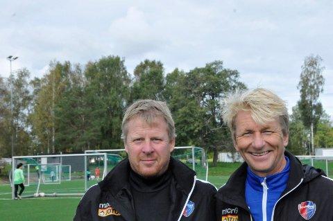 Samarbeider: Frams Roger Iversen og Halsens Petter Olsen har to av arkitektene bak samarbeidet på seniornivå mellom de to Larviks-klubbene.