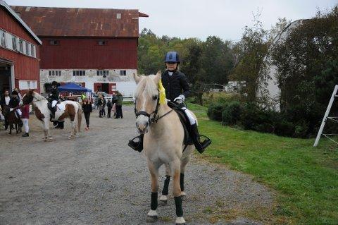 IVRIG RYTTER: Pernille Granerud (10) syntes det var gøy å delta på dressurdagen på Brunla gård sammen med hesten hennes Nordmann.