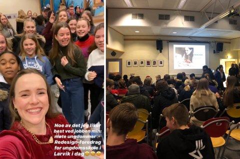 POPULÆRT: Både elevene ved Hedrum ungdomsskole og Ingrid Vik Lysne, influencer og vinner av symesterskapet på NRK for noen år side, storkoste seg da hun var på besøk og snakket om hvordan mange kan bruke gamle klær på nytt.