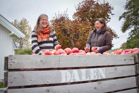 SAMARBEIDER: Astrid Bjørnson fra Kryssgaarden og Inger Marie Gulvik Holten under overleveringen av 1,5 tonn epler.