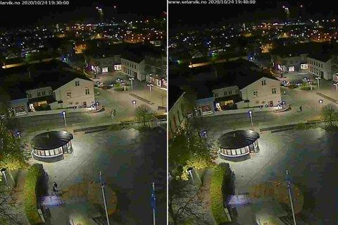 LØRDAG KVELD: Ødeleggelsene må ha funnet sted mellom klokken 19.30 og 19.40. Det ser man på disse bildene, som er hentet fra et webkamera på toppen av Torget 1.