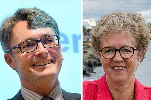 SETTER LARVIK PÅ KARTET: Aker-sjef Øyvind Eriksen og Norsk Hydro-sjef Anne Merethe Aasheim er to av næringslivsnorges tyngste aktører. Og begge er fra Larvik.
