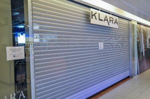 KONKURS: Morselskapet har meldt oppbud, som resulterer i at klesbutikken Klara på Amfi nå er stengt.