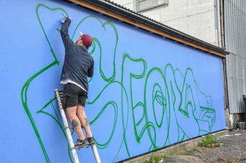 I GANG: Grafittikunstner Mathis Anvik har fått frie tøyler fra kommunen til å dekorere Søndre bakgård.