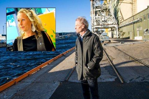 I klinsj: Byggesakssjef Cathrine Wærvågen og havnedirektør Jan Fredrik Jonas ser vidt forskjellig på lekteren som ligger i Svartebukt.
