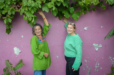 DET ROSA HUSET: Maria Manuela Rodrigues åpner dørene for publikum, og lørdag skal Hege Liseth male rett på denne veggen.