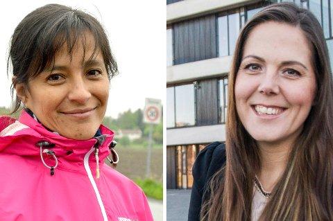 REAGERER: Gloria Isabel T. Odberg, til venstre, mener Lene Westgaard-Halles uttalelser om jernbane gjennom Larvik kan svekke mulighetene for ny stasjon og ny trasé gjennom byen.
