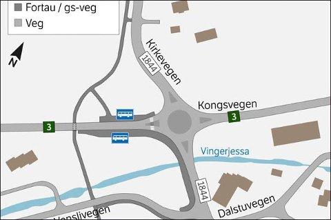 SKISSE: Slik blir den nye rundkjøringa ved Løten sentrum, ifølge planforslaget.