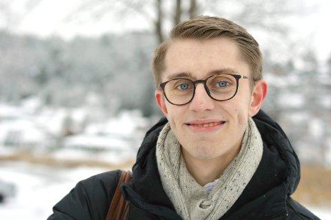 Mathias Willassen Hanssen i Vestfold Høyre har sterke meninger om blant annet skole.