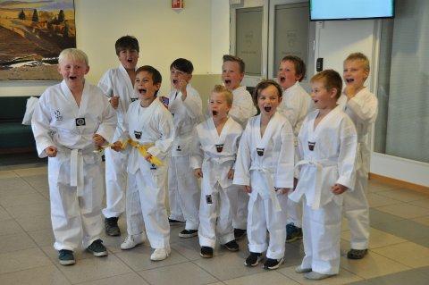 SMÅ NINJAER: Denne fine gjengen, som er de minste medlemmene i Rakkestad kampsportklubb, syntes det var stor stas å få være ekte ninjaer for en kveld under premieren av Lego Ninjago-filmen.
