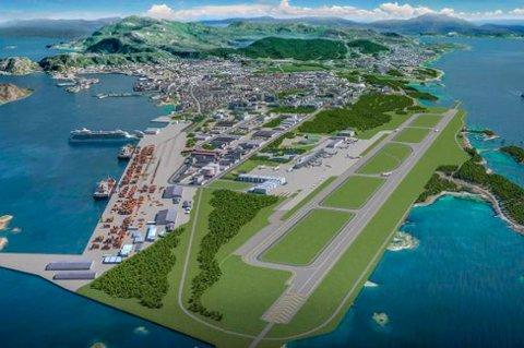 Slik vil den nye flyplassen i Bodø bli seende ut. Rana Blad tror det ikke er lenge før det er klart at ny flyplass på Hauan blir vedtatt.