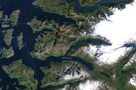 Her er alle jordskjelvene i området den siste måneden. Kart fra NORSAR.