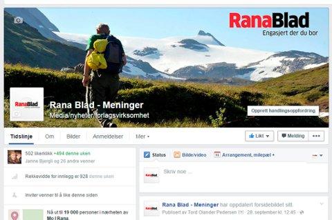 NY FACEBOOK-SIDE: Rana Blad lanserer i dag sin nye Facebook-side som er dedikert til meninger og den lokale debatten.