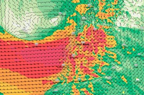 Slik forventer Yr.no at vindstyrkene på Helgeland blir lørdag morgen.