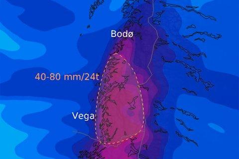 VÅTT: Til helga kan det komme opp mot 80 mm nedbør enkelte steder på Helgeland.