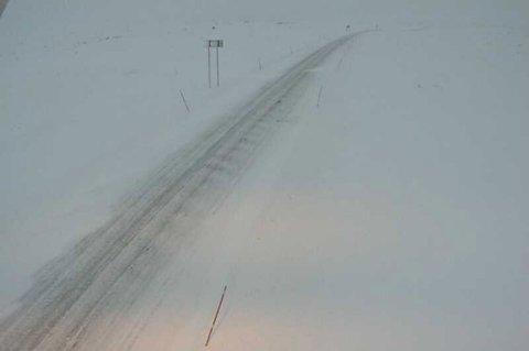 E6 over Saltfjellet søndag ettermiddag.