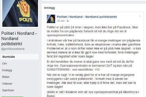 Skjermdump fra Politiet i Nordland sin facebook.
