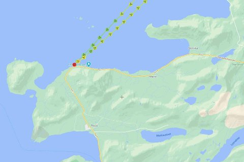 AIS-data fra Marinetraffic viser at skipet var på vei fra Bodø, og returnerte etter grunnstøtinga.