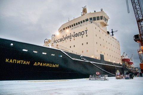 TIL TROMSØ: Den russiske isbryteren «Kapitan Dranitsyn» vil etter planen ankomme Breivika seint mandag kveld. Tirsdag reiser de fleste av passasjerene videre til Tyskland i et chartret fly.
