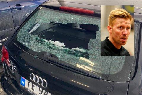 FORTVILER: Børge Lund fortviler etter å ha funnet bilen sin ødelagt etter å ha handlet på City Nord.