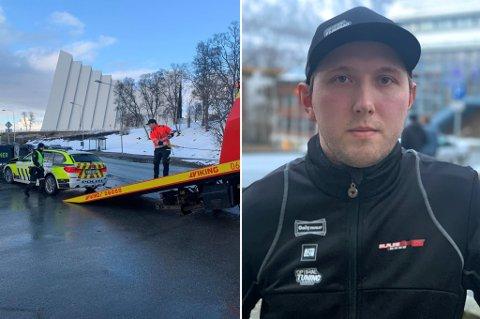 REAGERER: Hans Christian Jensen så UP-bilen i høy fart opp Bruvegen like før kollisjonen. Han reagerer kraftig på at politibilen ikke hadde verken blålys eller sirener.