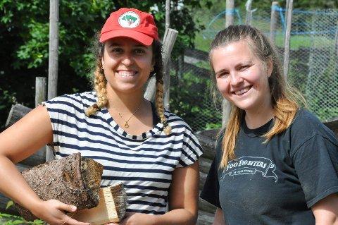 Natalia Tyse (24) og Idun Skåre (27) bruker deler av sommerferien til å jobbe frivillig på gård i Åsmarka. De synes det er svært lærerikt.