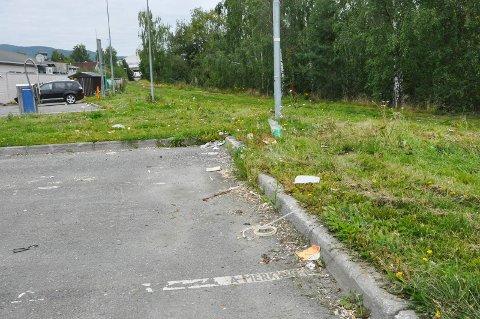 Langs parkeringsplassen på Esso On The Run ligger søppelet strødd. Turgåere som benytter stien langs Brumunda krever at dette blir ryddet så fort som mulig.
