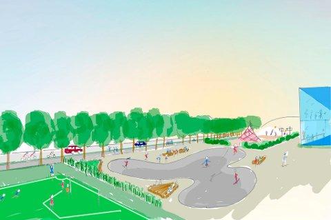 Aktivitetsgata: I dette alternativet er mest mulig aktivitetsskapende funksjoner lagt langs Ringeriksgata: Skateanlegg, treningsbaner for basket, sjuerbane for fotball, sandvolleyballbaner og isbar/utekafé. (Skisse: Rambøll)