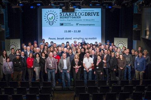 """SAMLES: Torsdag er Ringerike vertskap for en stor gründerkonferanse. Her er lokale gründere samlet på """"Starte og drive bedrift-dagen"""" i 2015."""